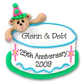 Bear & Birthday Cake<br>Personalized Ornament