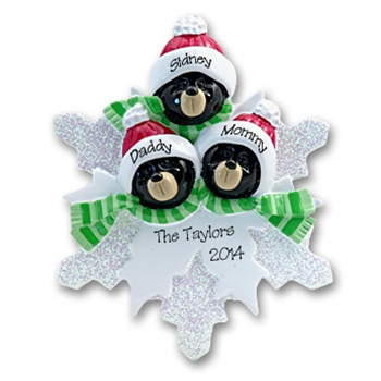 Black Bear Family of 3<br>on Snowflake<br>Personalized Ornament