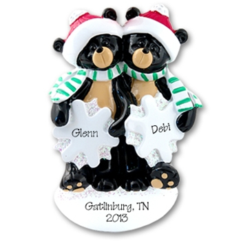 RESIN Black Bear Couple w/Snowflakes Personalized Couples Ornament