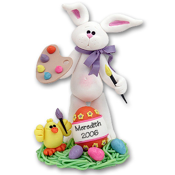 White Artist<br>Belly Bunny Figurine<br>Personalized Easter Ornament