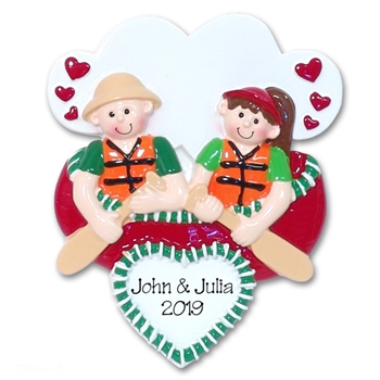 Couple in Canoe Personalized Canoeing Ornament