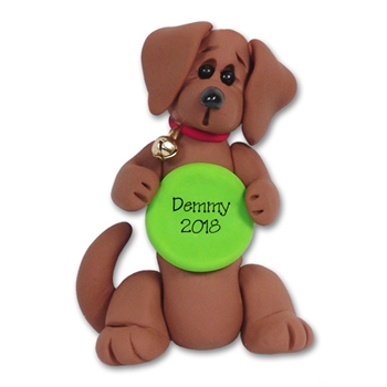 """Demmy"" Daschund with Frisbee Dog Ornament - Limited Edition"