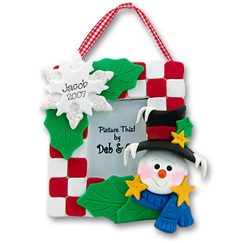 Snowman<br>Personalized Ornament<br>Picture Frame