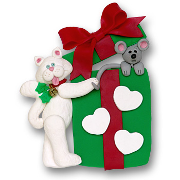 Cat w/Gift Box & 3 Hearts<br>Personalized Ornament