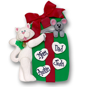 Cat w/Gift Box & 4 Hearts<br>Personalized Family Ornament