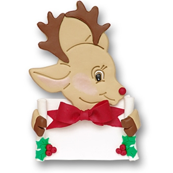 Rudolph Reindeer w/Banner<br>Personalized Ornament
