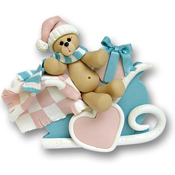Bear in Blue Sled Personalized Baby Ornament