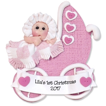 Baby Girl in Buggy Ornament Personalized 1st Christmas Ornament - Limited Edition