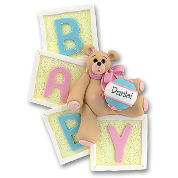 Bear on Blocks<br>Personalized<br>Baby Ornament