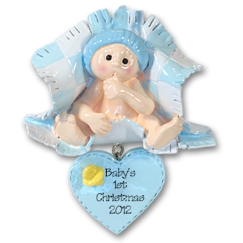 RESIN<br>Baby in Blue Blanket<br>Personalized<br>Baby Ornament