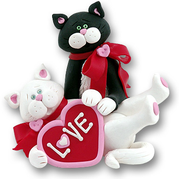 Valentine Kitty Couple Cat Figurine