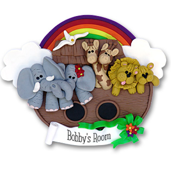 Noah's Ark Polymer Clay Personalized Christmas Ornament