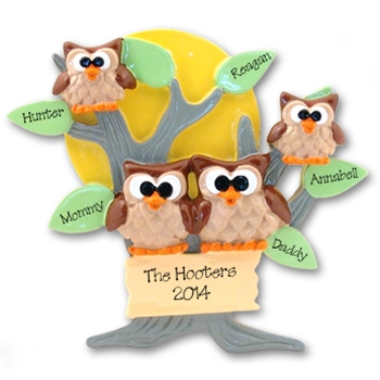 Owl Family of 4<br>Personalized Family Ornament