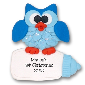Owl w/ Baby Bottle 1st Christmas Ornament  Limited Edition