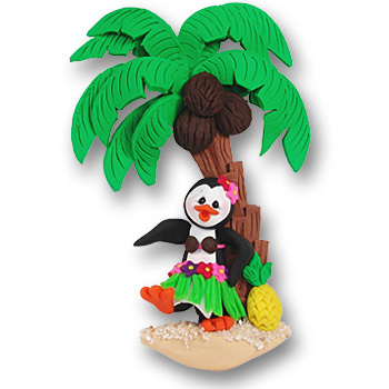 Polly Penguin with Palm Tree and Hula Skirt<br>Personalized Ornament
