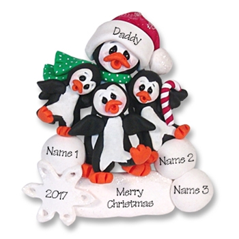Petey & Polly Penguin<br>Single Parent/Grandparent<br>Ornament -2 Kids<br>Limited Edition