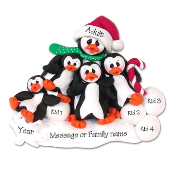 Petey & Polly Penguin<br>Single Parent/Grandparent<br>Ornament-3 kids<br>Limited Edition