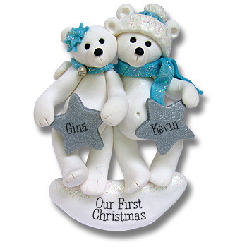 Polar Bear Family of 2<br>Personalized Ornament