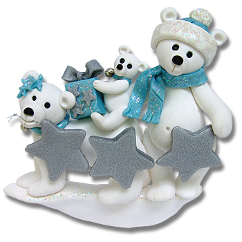 Polar Bear Family of 3<br>Personalized Family Ornament