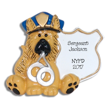 German Shepherd Police Dog / Policeman Personalized Ornament