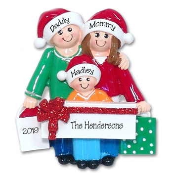 Shopping Family of 3 Personalized Family Ornament