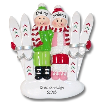 Ski Couple Personalied Couples Ornament-RESIN