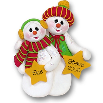 Snowman w/Stars Personalized Couples Ornament - Limited Edition