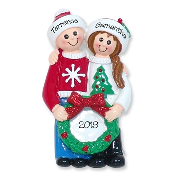 Ugly Sweater Christmas Couple Personalized RESIN Ornament