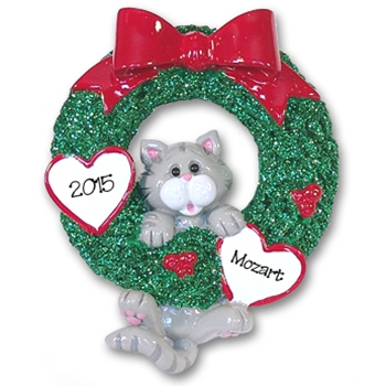 Gray Tabby<br>Hanging in Wreath<br>Personalized Cat Ornament